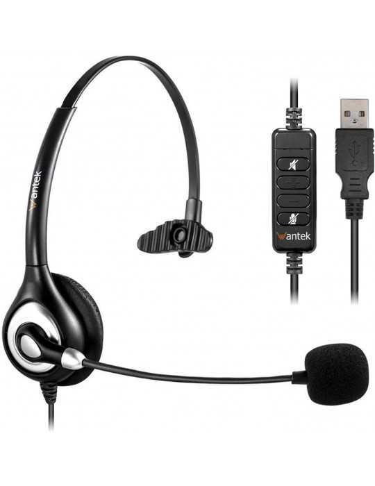 Auriculares USB Micrófono con Cancelación de Ruido y Controles en Línea